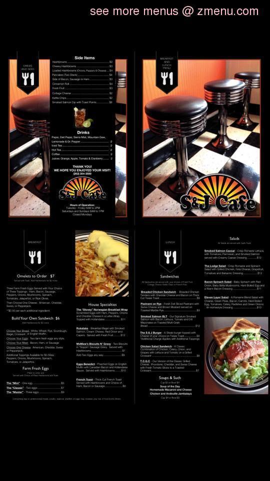 Online Menu of S & J Cafe Restaurant, Oconomowoc, Wisconsin