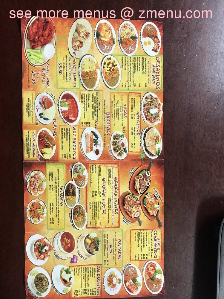 Casa Perez Mexican Food Menu