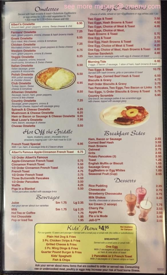 Online Menu Of Alberts Family Dining Restaurant Waterford Township Michigan 48327 Zmenu