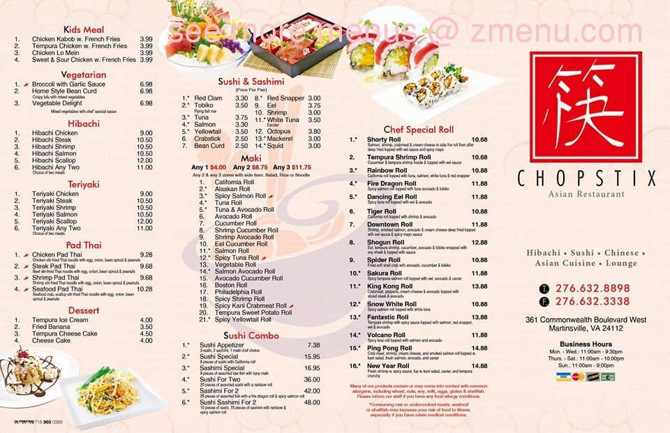 menu chopstix martinsville restaurant zmenu virginia update