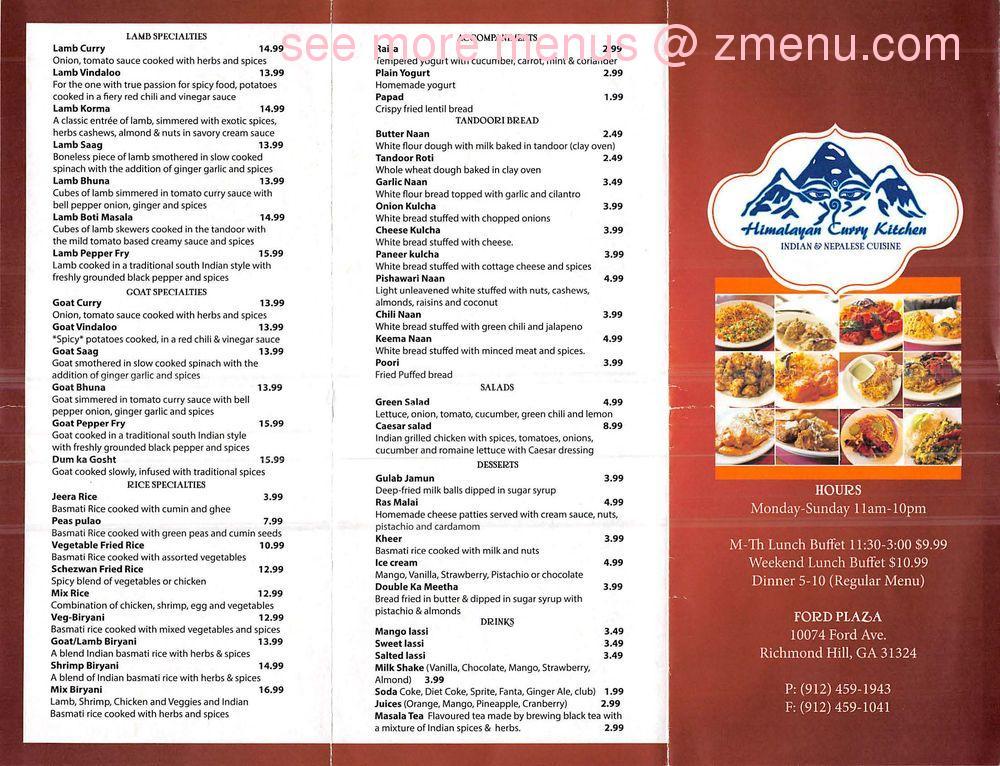 Online Menu Of Himalayan Curry Kitchen Restaurant Richmond Hill Georgia 31324 Zmenu