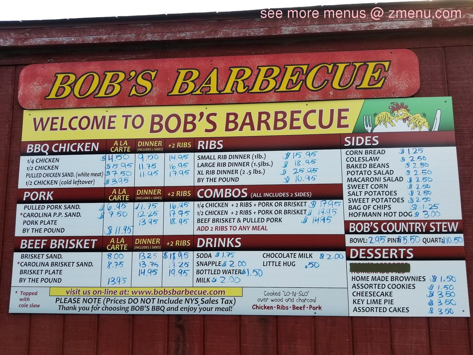 Online Menu Of Bobs Barbecue Restaurant Homer New York 13077 Zmenu