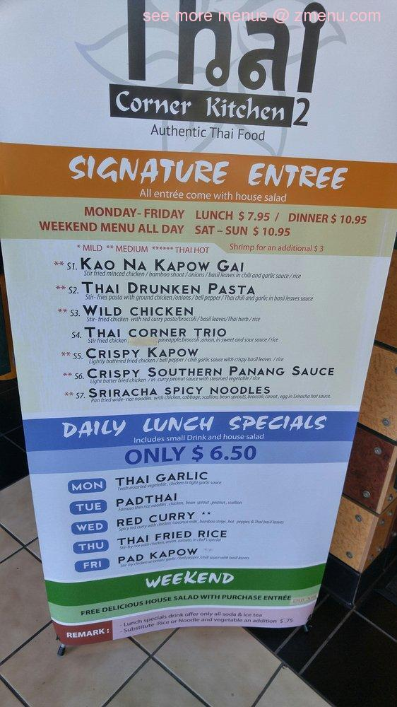 Menu of Thai Corner Kitchen Restaurant