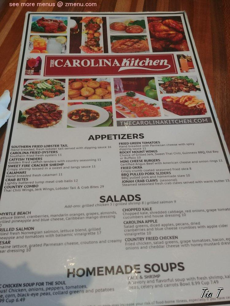 Online Menu Of Carolina Kitchen Restaurant Brandywine Maryland 20613 Zmenu