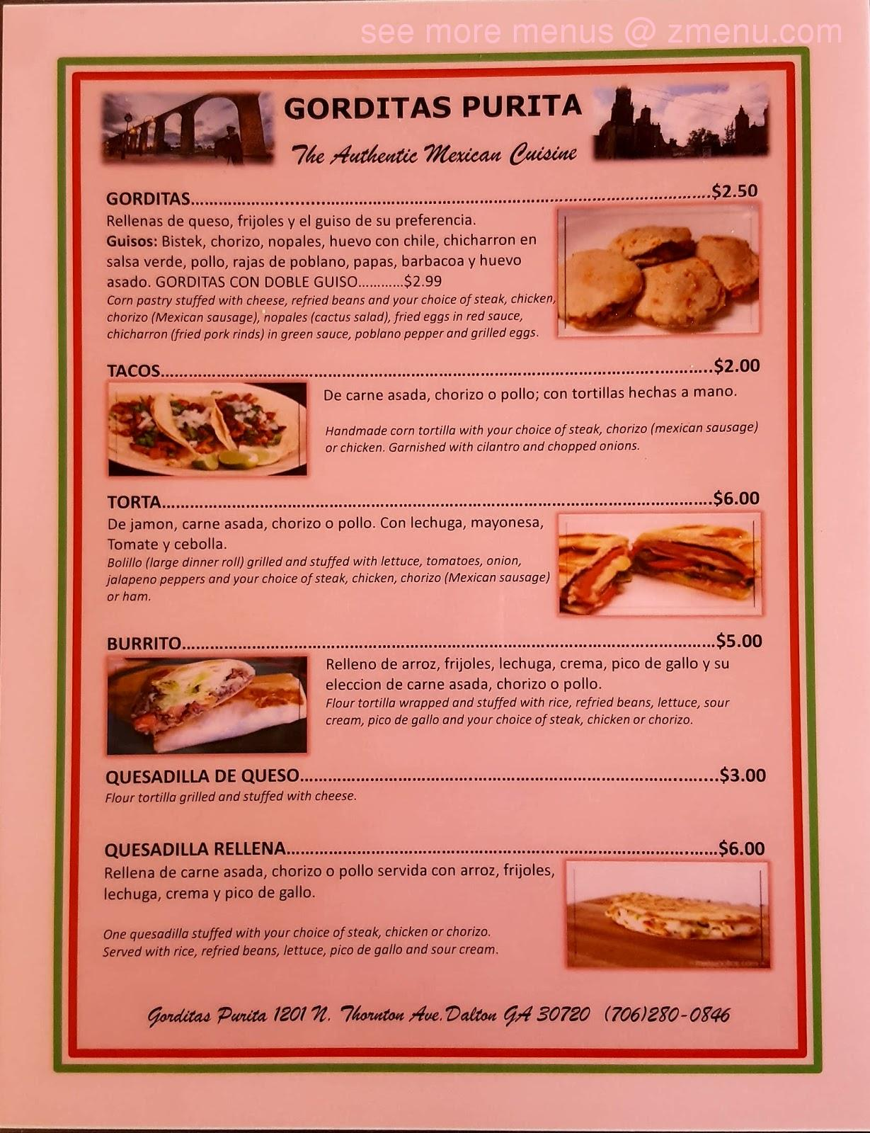 Online Menu of Gorditas Purita Restaurant, Dalton, Georgia