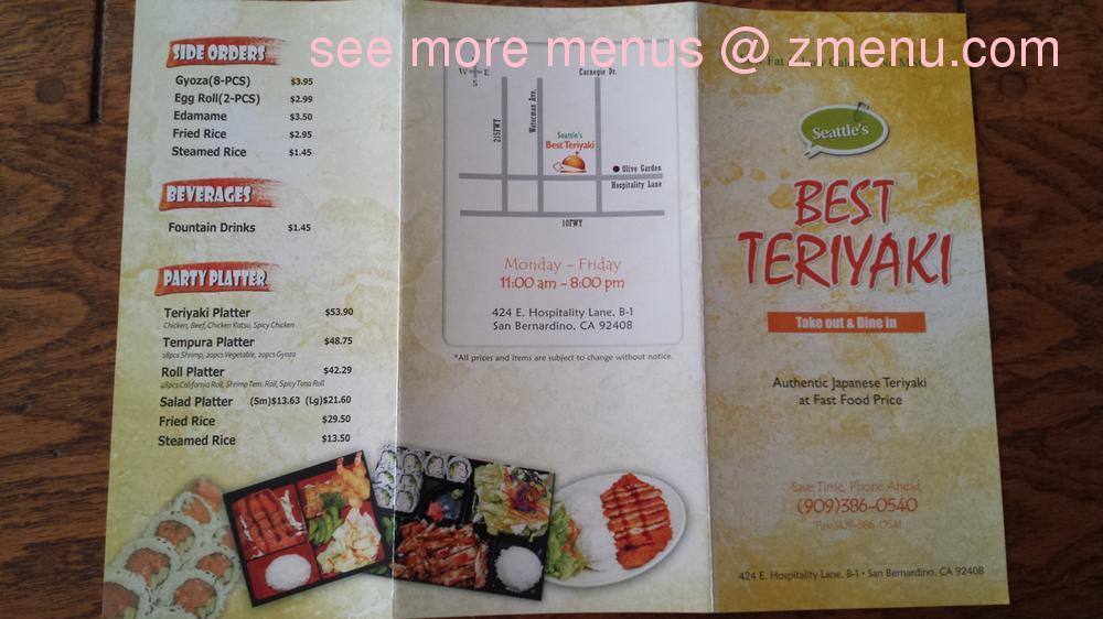 Online menu of seattle 39 s best teriyaki restaurant san bernardino california 92408 zmenu for Olive garden san bernardino ca