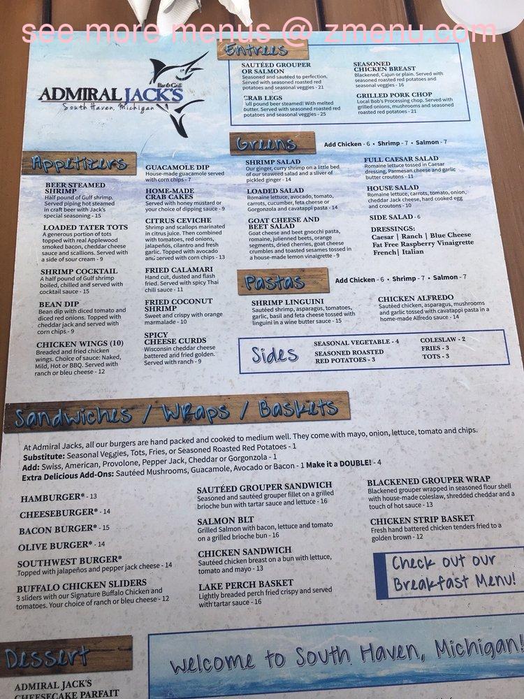 Online Menu of Admiral Jacks Bar & Grill Restaurant, South