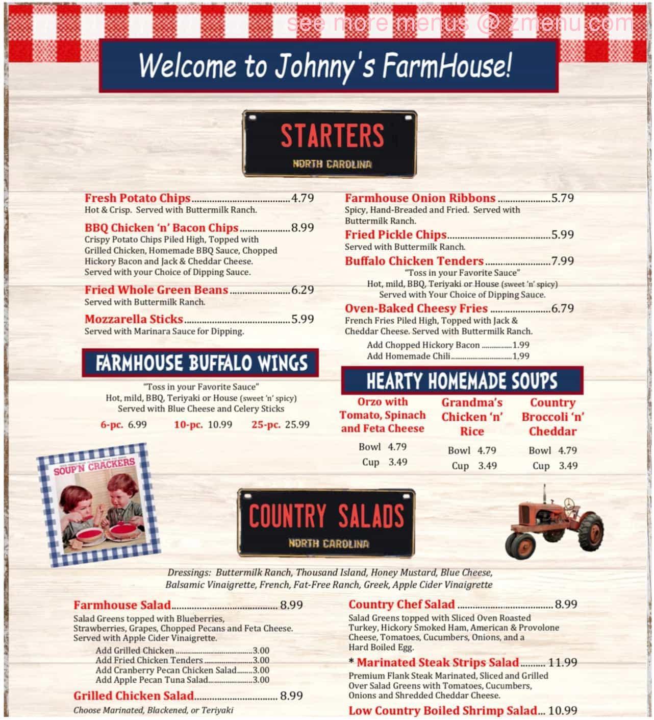 Online Menu Of Johnnys Farm House Restaurant Concord North