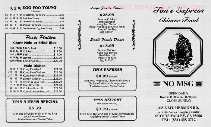 Abc Chinese Restaurant Menu Scotts Valley