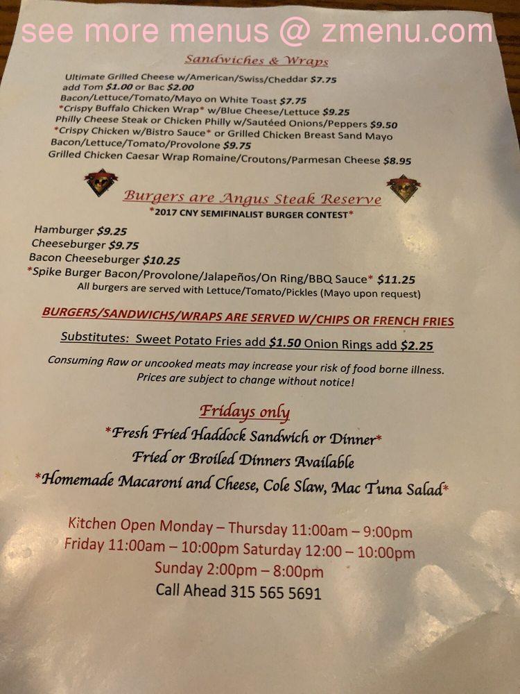 online menu of golden spike pub restaurant  east syracuse