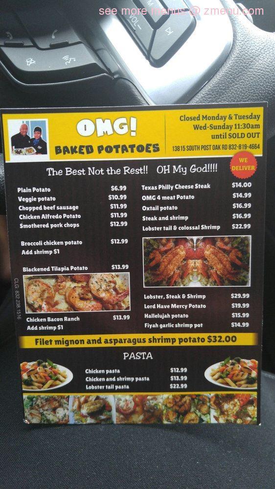 Online Menu Of Omg Baked Potatoes Restaurant Houston Texas