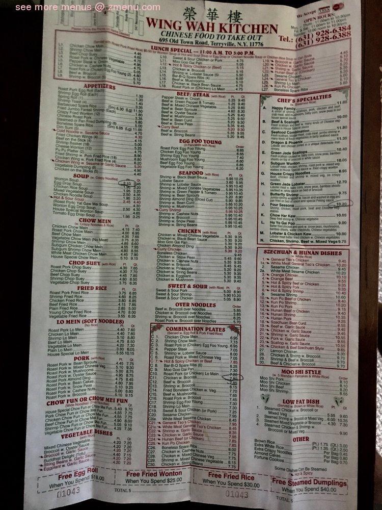 Online Menu Of Wing Wah Kitchen Restaurant Port Jefferson Sta New York 11776 Zmenu