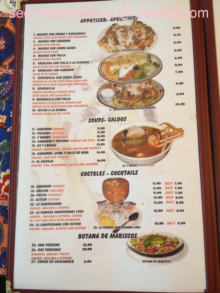 Ensenada Mexican Restaurant Menu