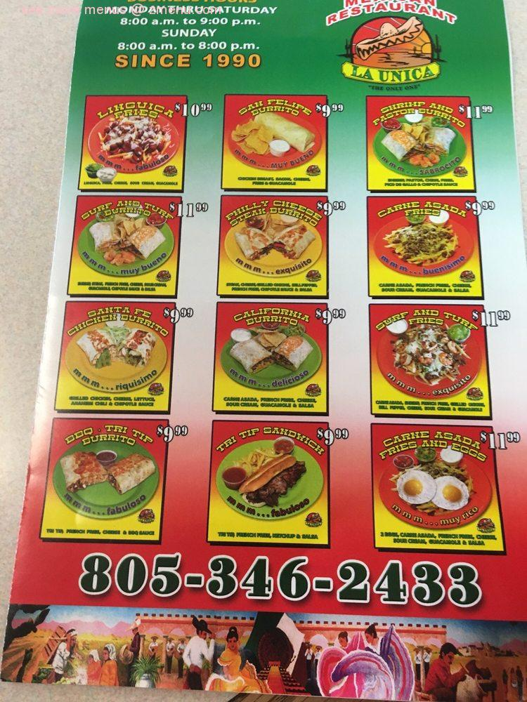 Online Menu Of La Unica Restaurant Santa Maria California 93454 Zmenu