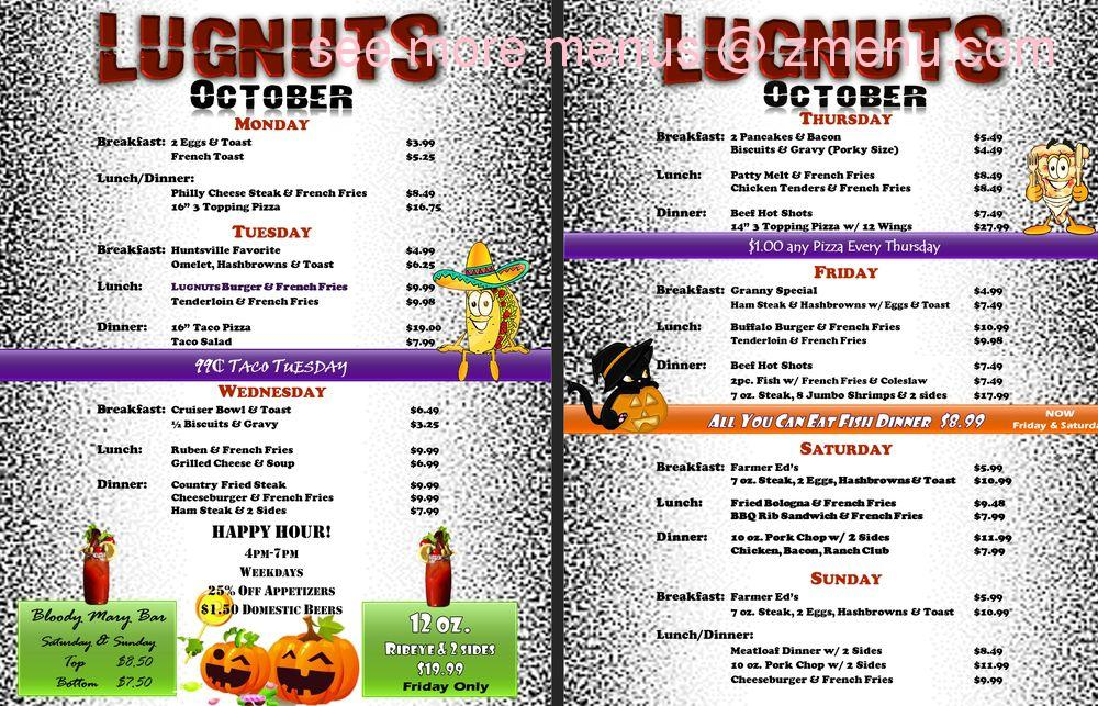 Online Menu Of Lug Nuts Restaurant Huntsville Ohio 43324 Zmenu