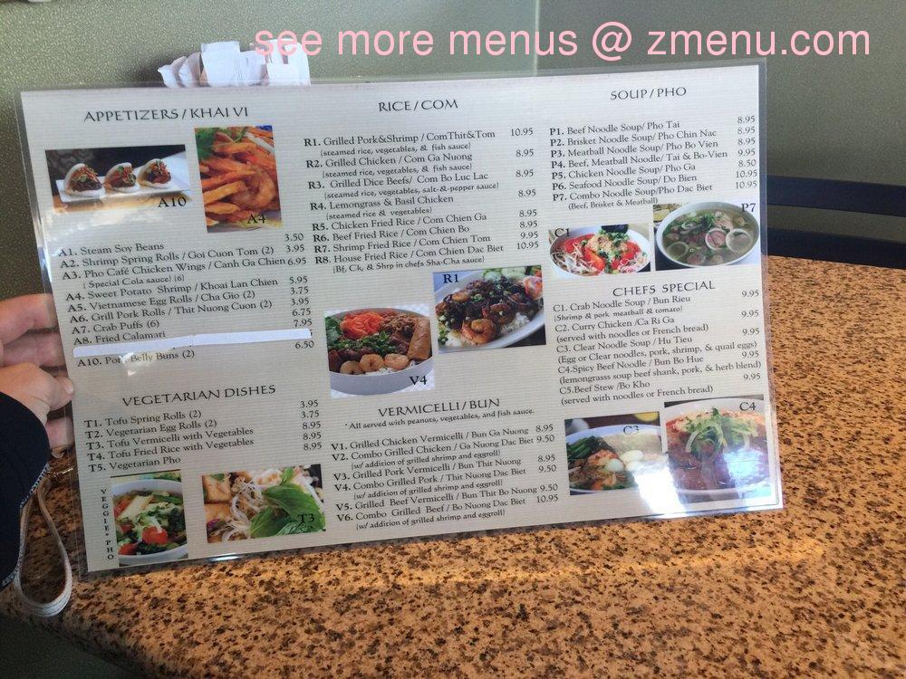 Online Menu of Pho Cafe Restaurant, Kansas City, Missouri