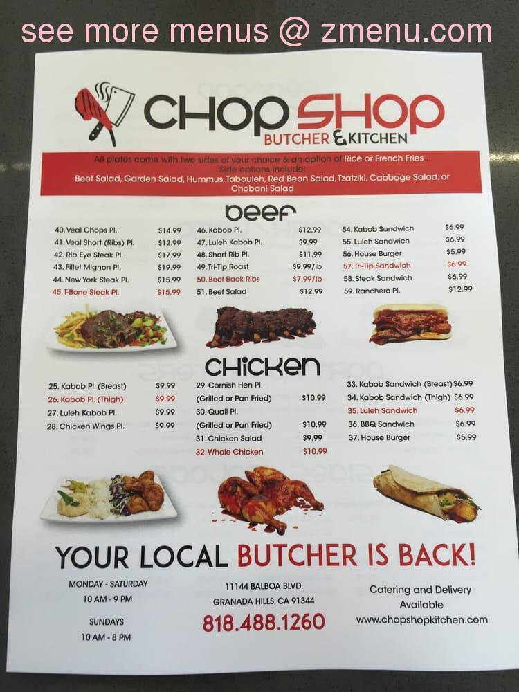 Online Menu of Chop Shop Butcher & Kitchen Restaurant, Granada Hills, California, 91344 - Zmenu