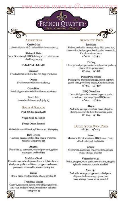 quarter menu