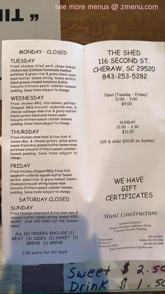 Online Menu Of The Shed Restaurant Cheraw South Carolina 29520 Zmenu
