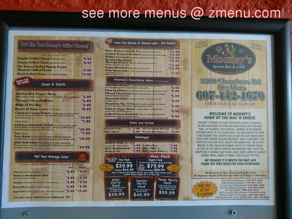 Online Menu Of Mooneys Sports Bar Amp Grill Restaurant