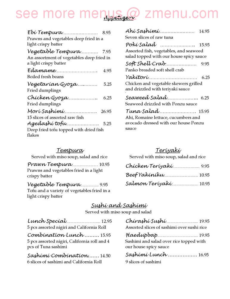 Online Menu Of Bonsai Japanese Cuisine Restaurant Portola