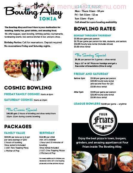 Online Menu of The Bowling Alley Ionia Restaurant, Ionia
