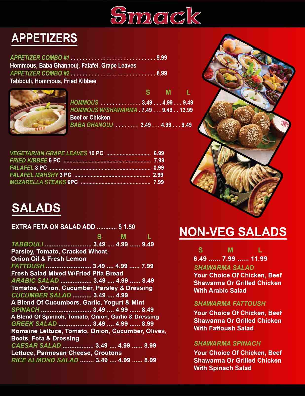 Online menu of smack middle eastern restaurant restaurant for Arabic cuisine menu