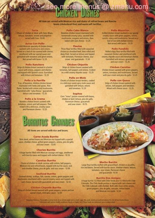 Online Menu Of Tapatio Mexican Grill