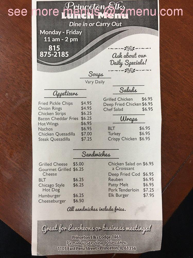 Online Menu Of Elks Lodge No 1461 Restaurant Princeton