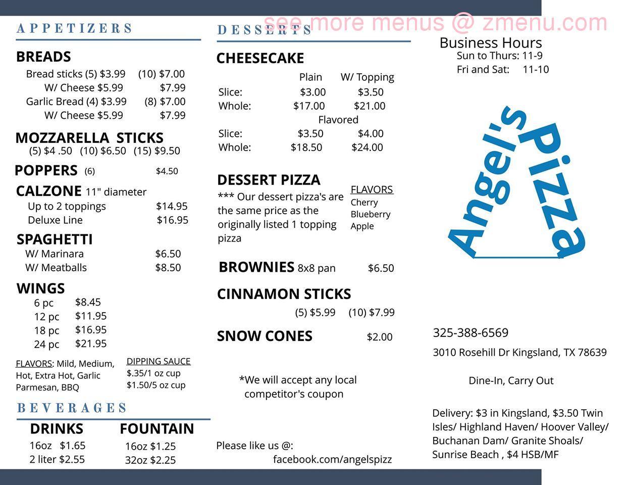 Online Menu Of Angels Pizza Restaurant Kingsland Texas
