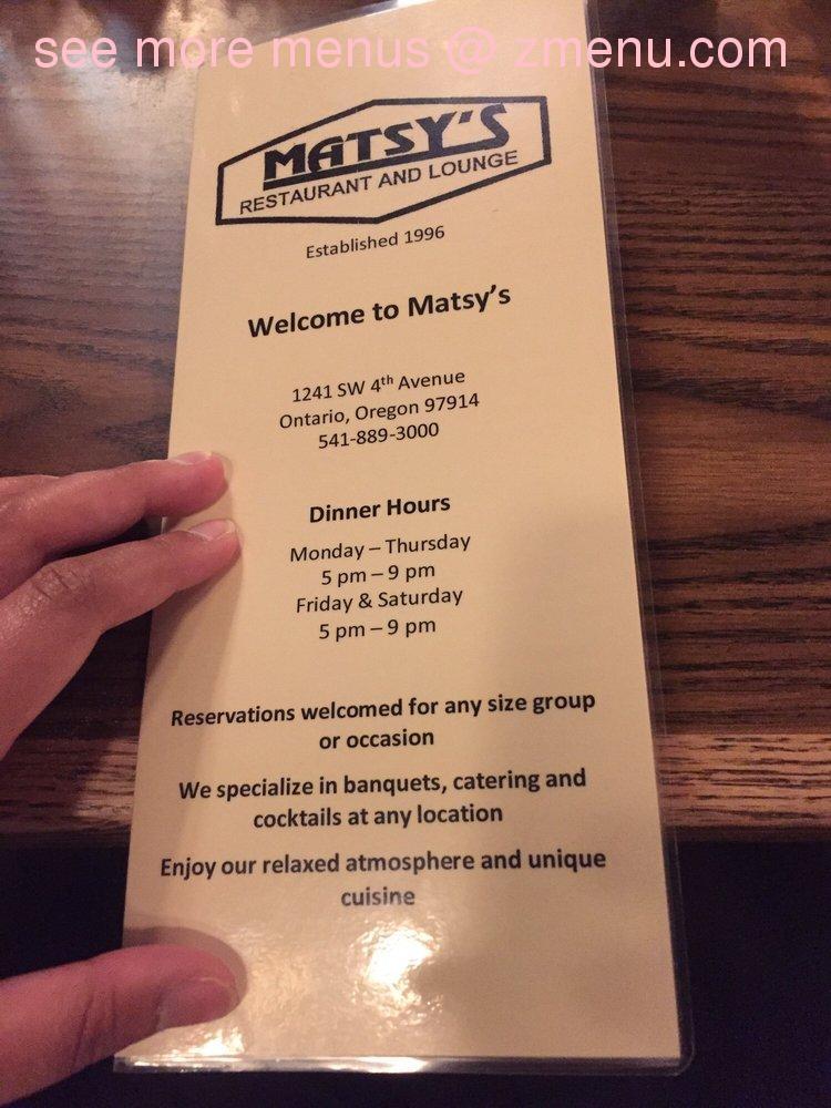 Online Menu Of Matsys Restaurant Lounge Restaurant Ontario