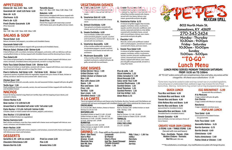 Online Menu Of Pepes Mexican Grill Restaurant Jamestown Kentucky 42629 Zmenu