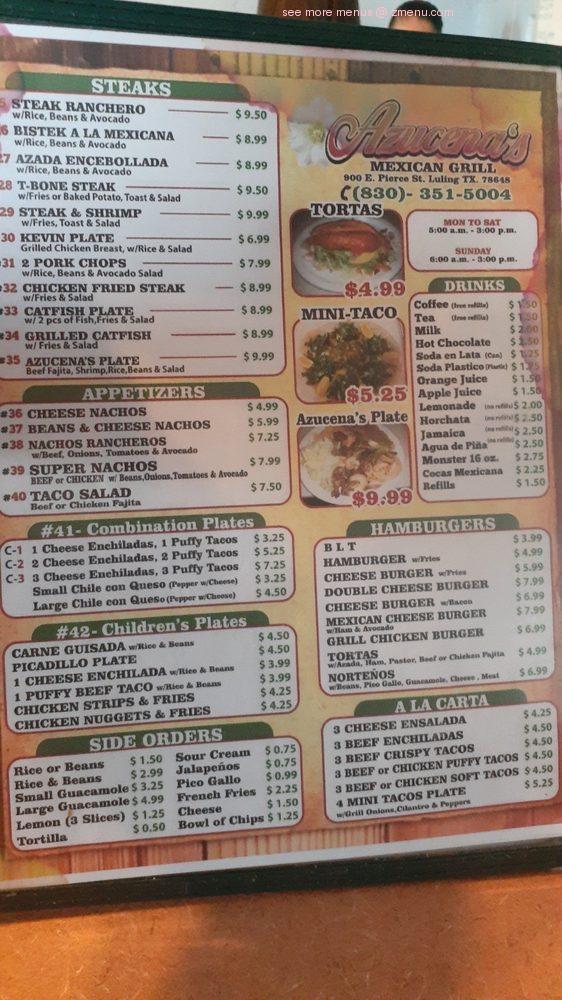 Online Menu Of Azucenas Mexican Restaurant Restaurant Luling Texas 78648 Zmenu