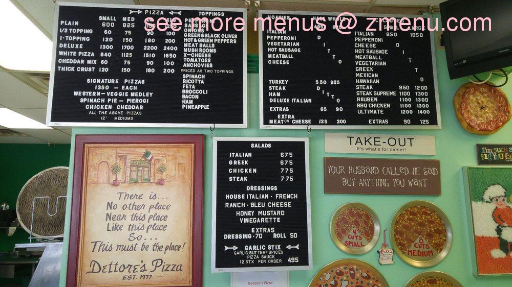 Online Menu of Dettores Pizza Restaurant, Monongahela