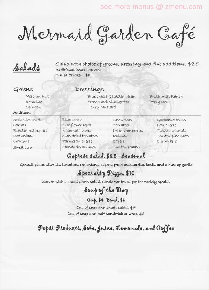 menu  mermaid garden cafe restaurant klamath falls oregon  zmenu