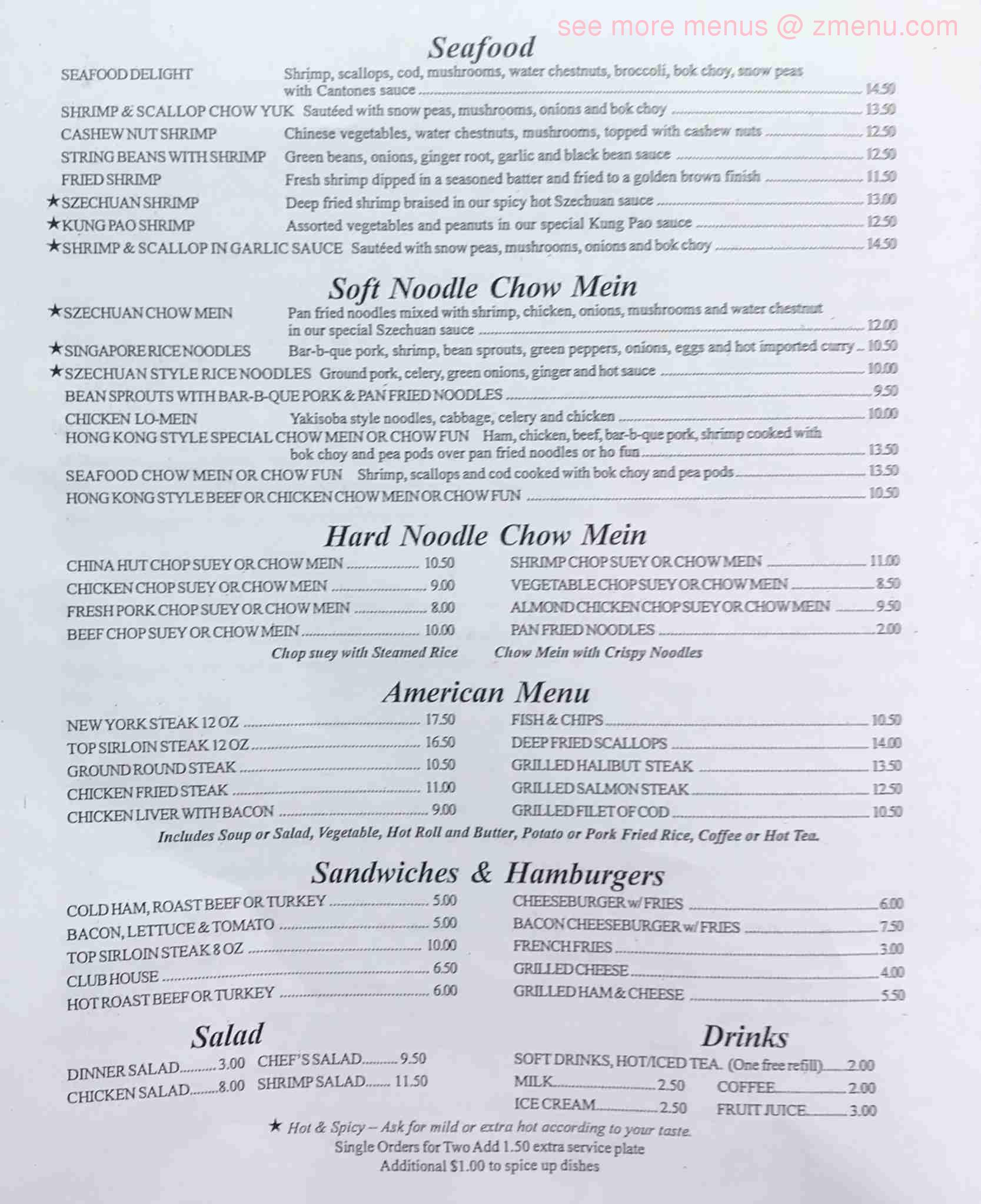 Online Menu of China Hut Restaurant, Grants Pass, Oregon, 97526 - Zmenu