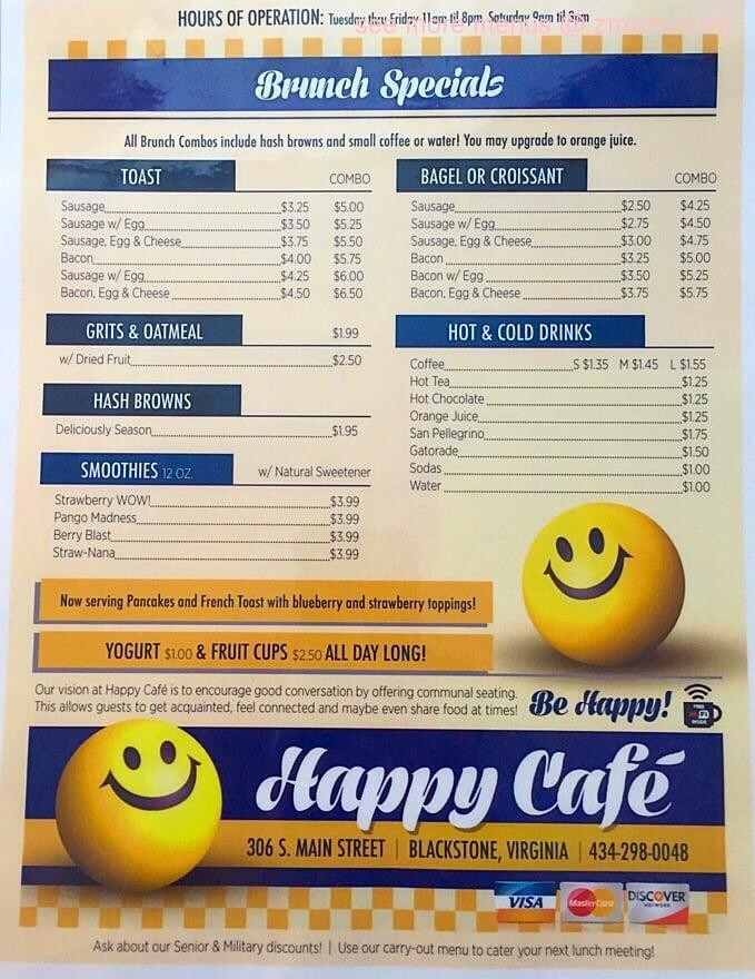 Happy Cafe Menu Blackstone Va