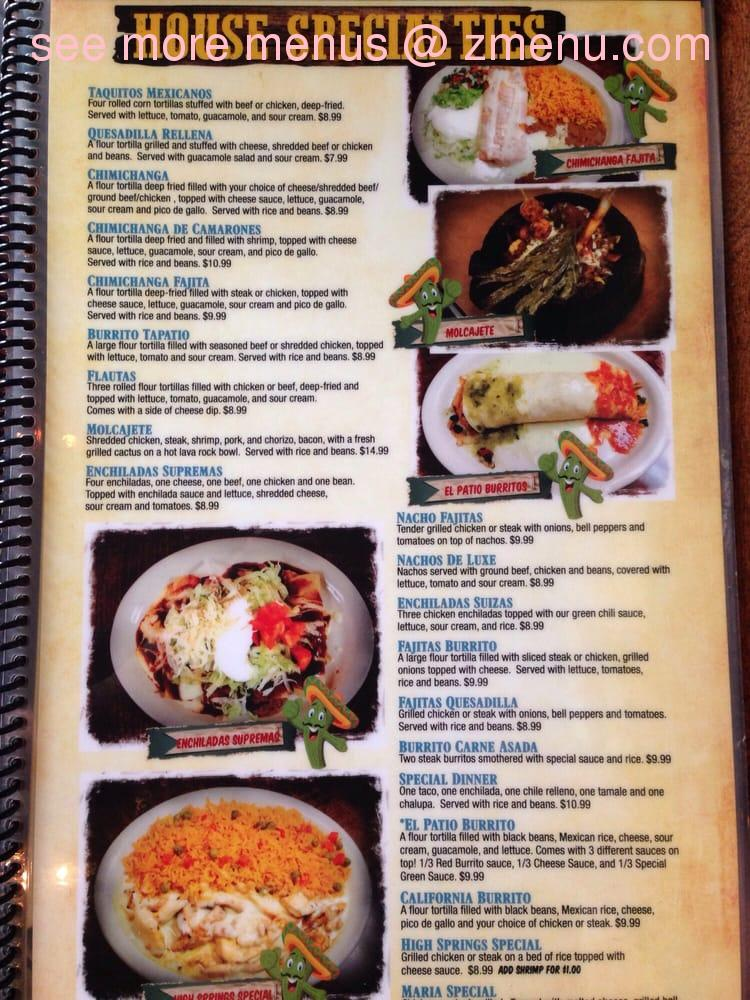 Note: the menu prices may subject to change. - Online Menu Of EL Patio Restaurant, High Springs, Florida, 32643 - Zmenu
