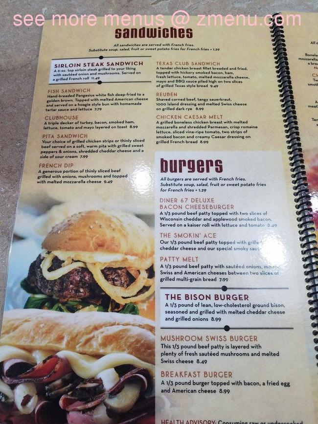 Online Menu of Diner 67 Restaurant, Lomira, Wisconsin ...