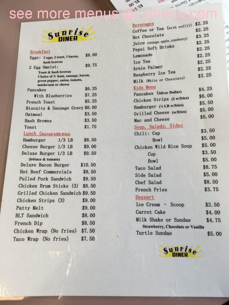 Online Menu Of Sunrise Diner Restaurant Dassel Minnesota 55325 Zmenu