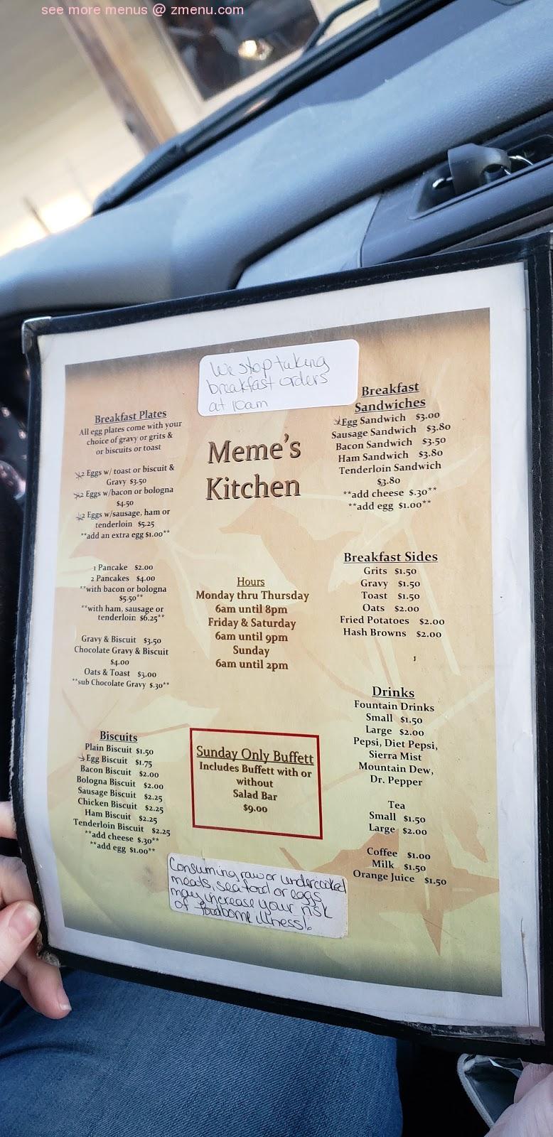 Online Menu Of Memes Kitchen Restaurant Collinwood Tennessee 38450 Zmenu
