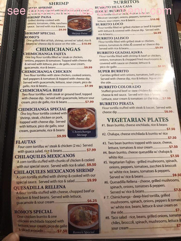 Online Menu of Romos Mexican Resturant Restaurant