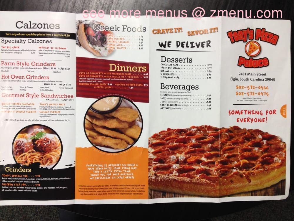 Online menu of tony 39 s pizza palace restaurant elgin south carolina 29045 zmenu for Panda garden elgin sc