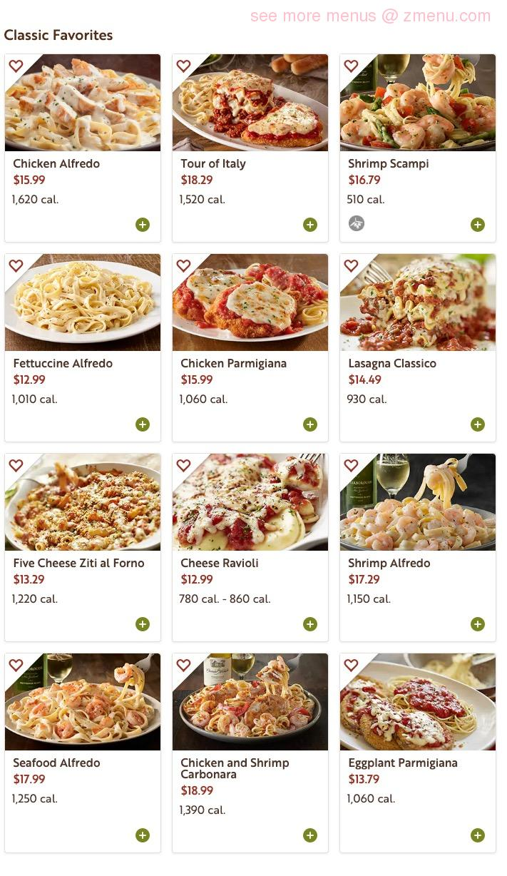 Online Menu Of Olive Garden To Go Delivery Available