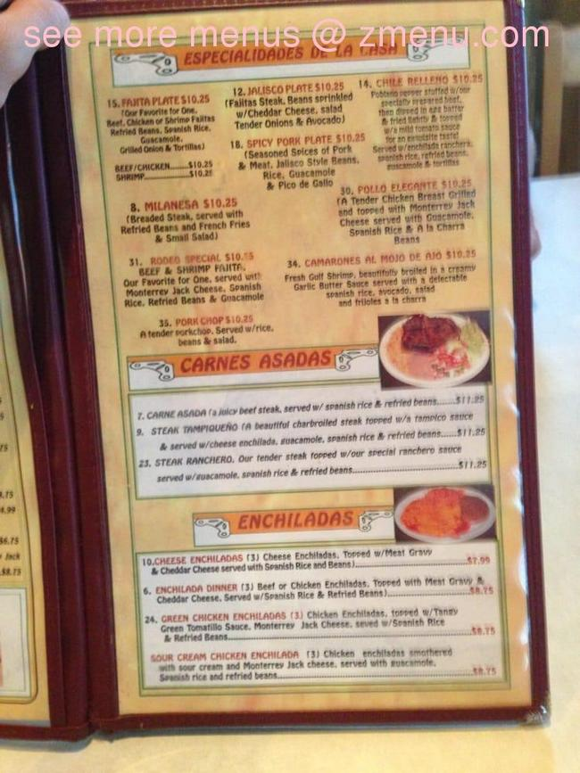 Online Menu Of El Rodeo De Jalisco Restaurant Spring