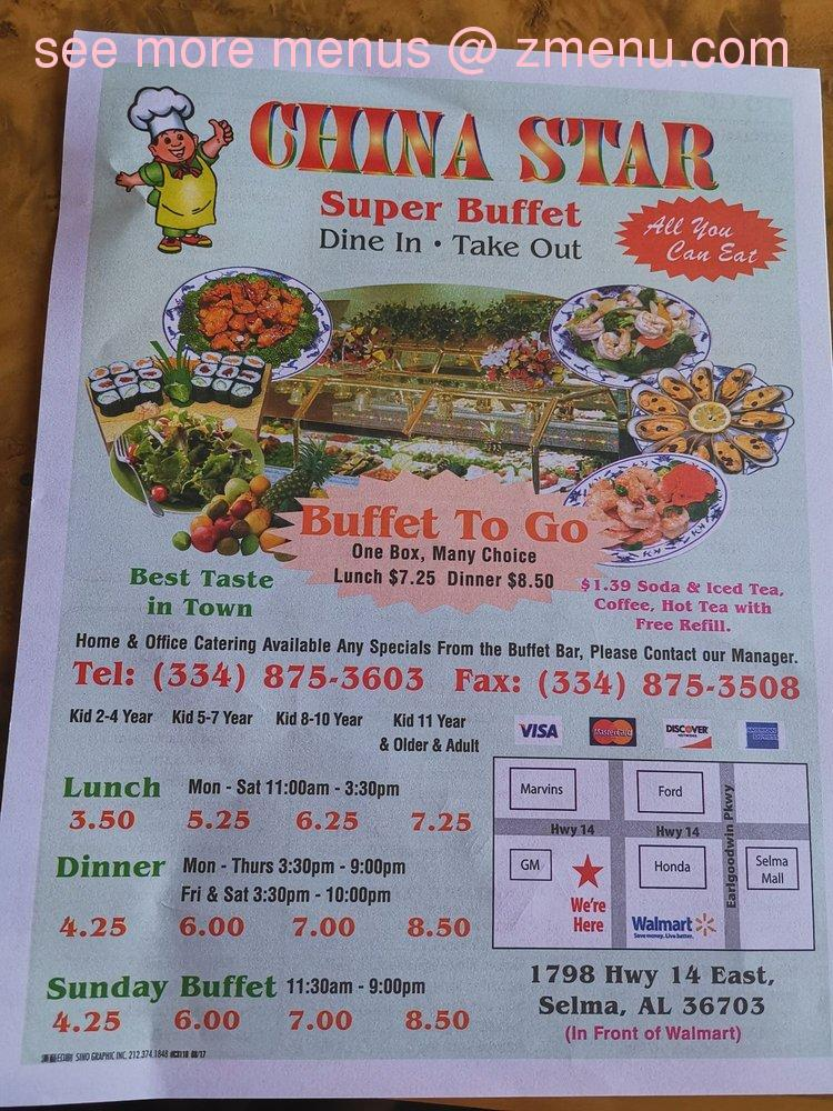 Fine Online Menu Of China Star Restaurant Selma Alabama 36703 Home Interior And Landscaping Transignezvosmurscom