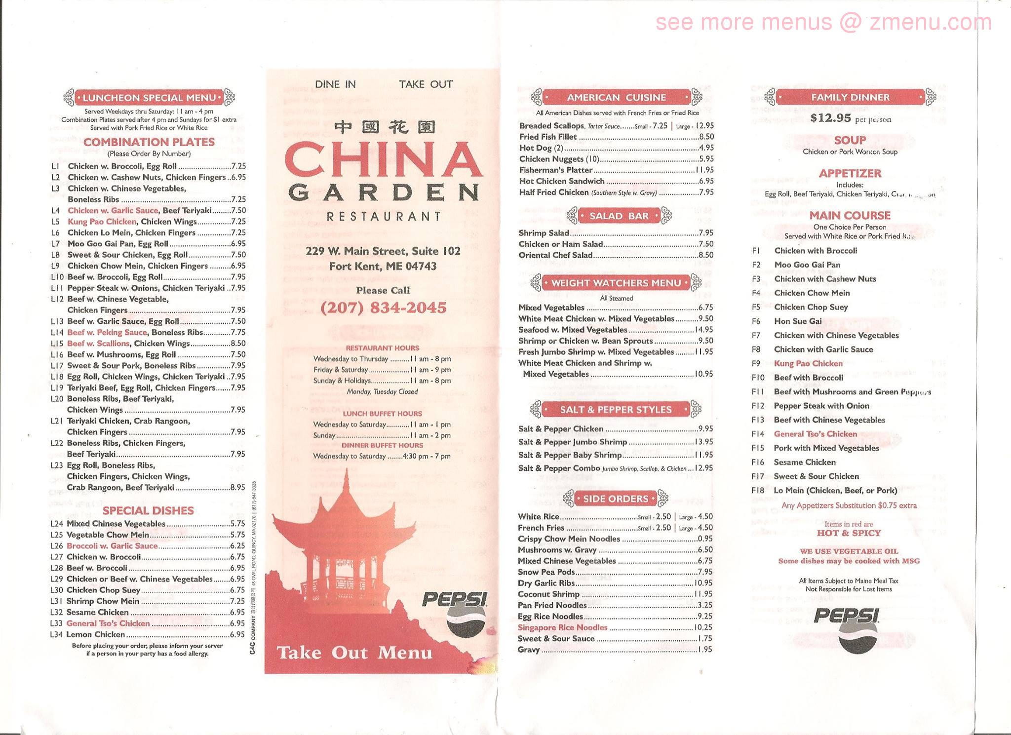 Online Menu Of China Garden Restaurant Fort Kent Maine 04743 Zmenu
