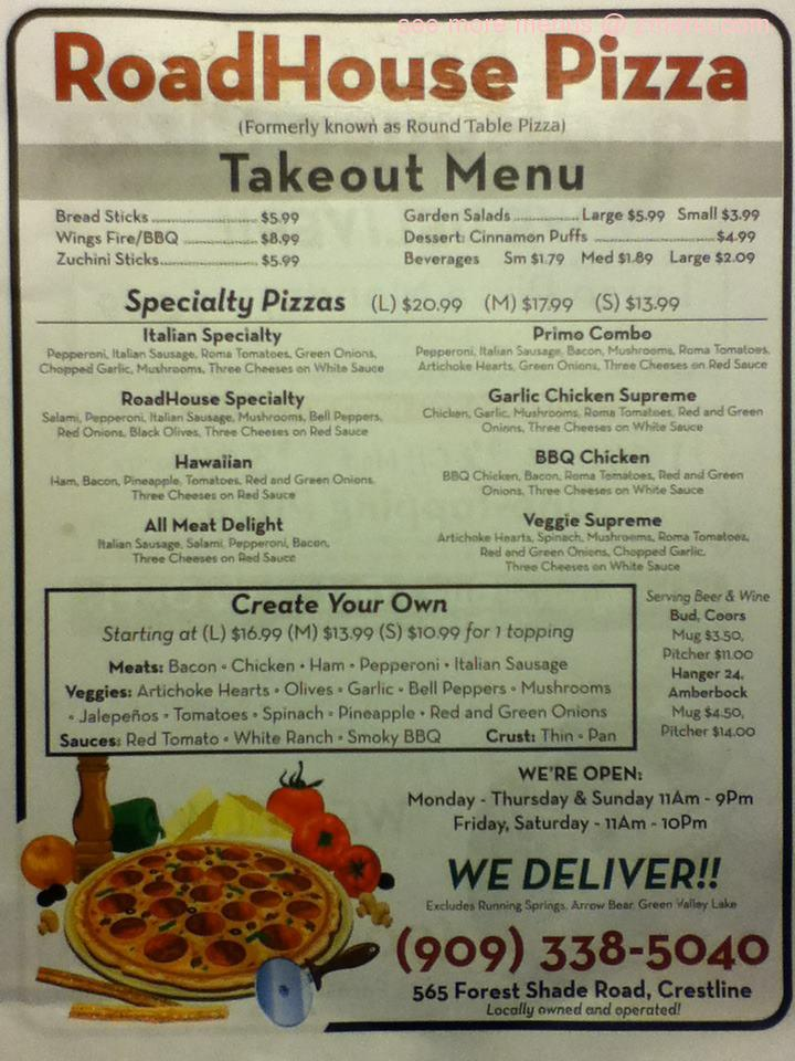 Online Menu Of Roadhouse Pizza Restaurant Crestline California - Round table pizza menu prices