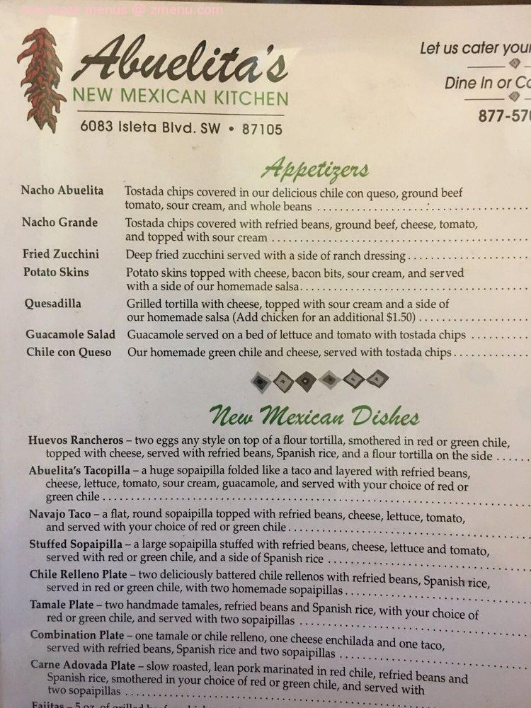Online Menu Of Abuelitas New Mexican Kitchen Restaurant Albuquerque New Mexico 87105 Zmenu