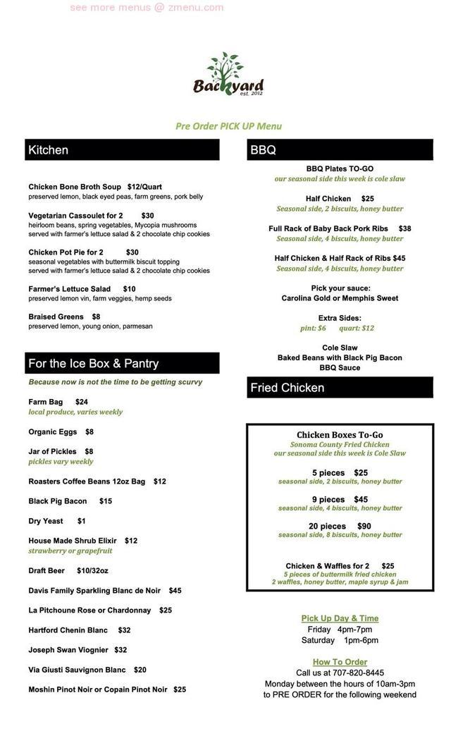 Online Menu of Backyard Restaurant, Forestville ...